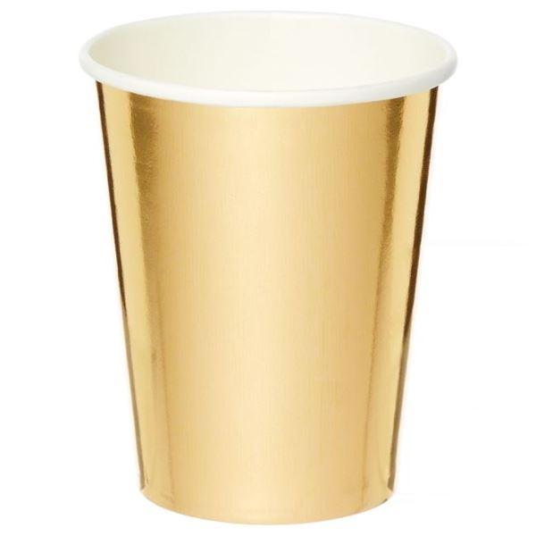Imagen de Vasos de cartón Dorado Metal (8)