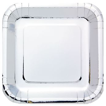 Imagen de Platos de cartón Plateado Metal cuadrados (8)