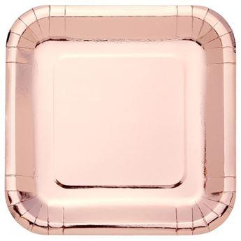 Picture of Platos de cartón Rosa Dorado Metal cuadrados (8)