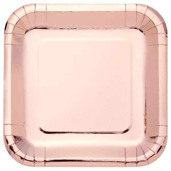 Imagen de Platos de cartón Rosa Dorado Metal cuadrados (8)