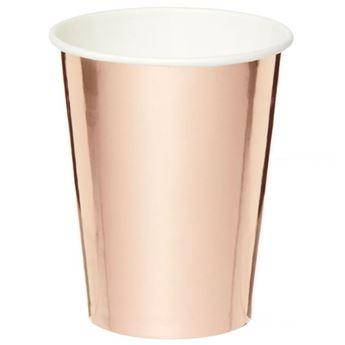 Imagen de Vasos de cartón Rosa Dorado Metal (8)