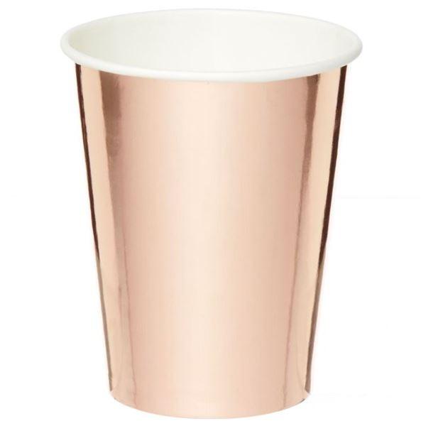 Picture of Vasos de cartón Rosa Dorado Metal (8)