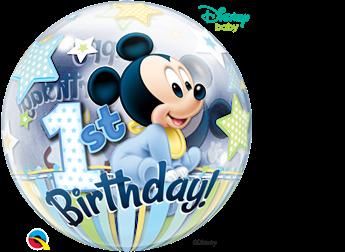 Picture of Globo Mickey Mouse bebé Primer cumpleaños Bubble burbuja 56 cm