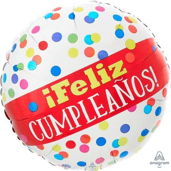 Picture of Globo blanco feliz cumpleaños puntos