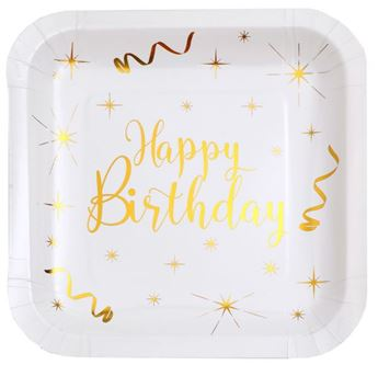 Imagen de Platos Happy Birthday blancos cuadrados (10)