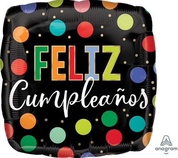 Imagen de Globo negro feliz cumpleaños lunares