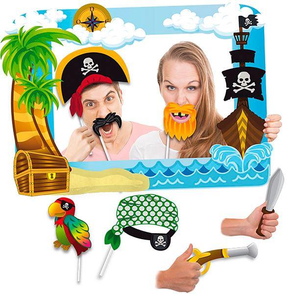 Imagen de Marco photocall Piratas con accesorios