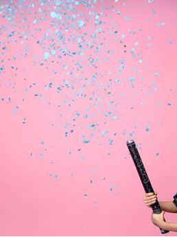 Picture of Cañón de confeti Revelación Gender Reveal azul Es niño 60cm