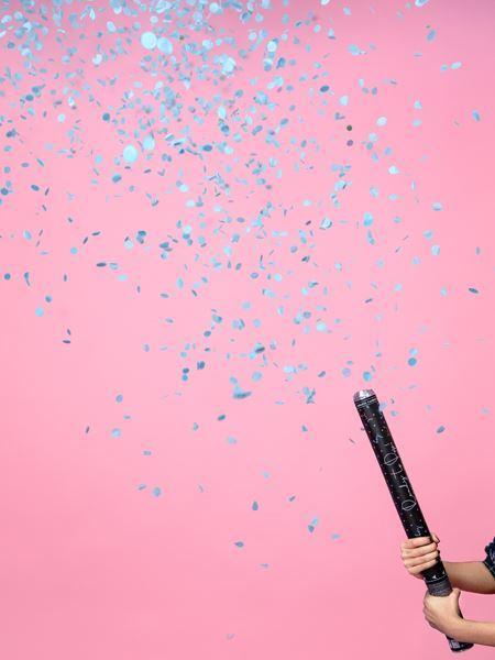 Imagens de Cañón de confeti Revelación Gender Reveal azul Es niño 60cm