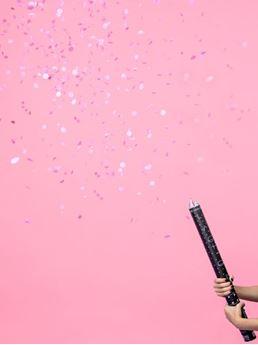 Imagens de Cañón de confeti Revelación Gender Reveal rosa Es niña 60cm