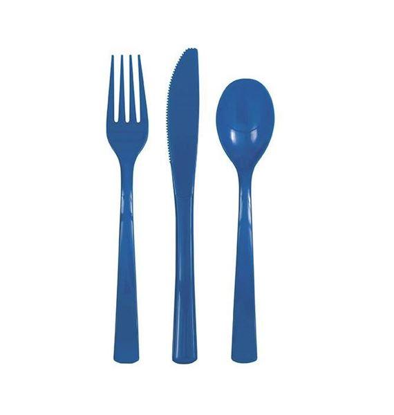Picture of Cubiertos azul marino reutilizables (6x3)