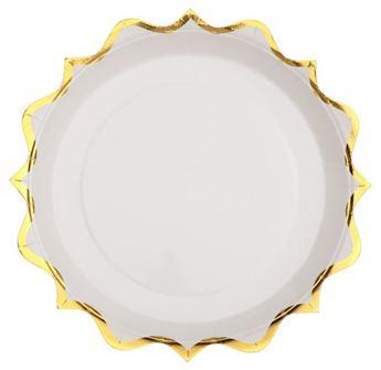 Imagen de Platos blancos ondas dorados pequeños (10)