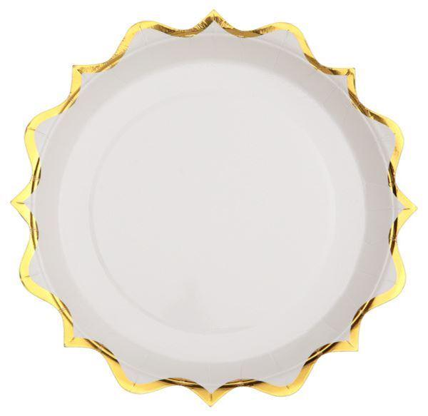 Imagens de Platos blancos ondas dorados pequeños (10)