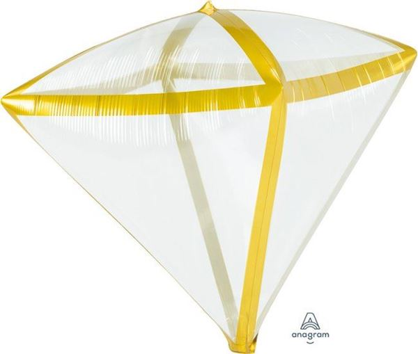 Picture of Globo diamante transparente borde dorado