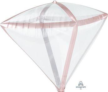 Imagen de Globo diamante transparente borde rosa dorado