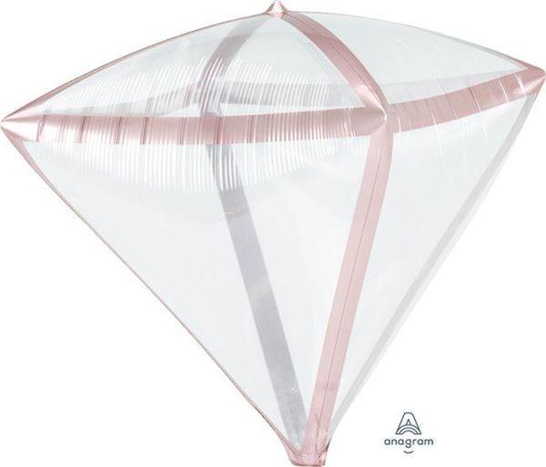 Picture of Globo diamante transparente borde rosa dorado