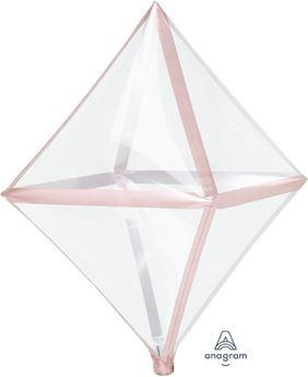 Imagen de Globo Octaedro transparente borde rosa dorado