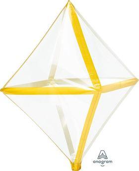 Imagen de Globo Octaedro transparente borde dorado
