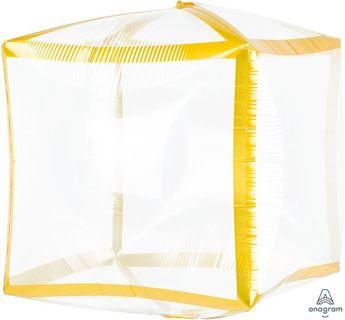 Imagen de Globo cubo transparente borde dorado