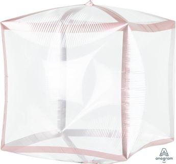 Imagen de Globo cubo transparente borde rosa dorado