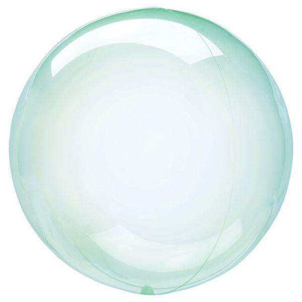 Imagen de Globo burbuja transparente verde plástico 45cm