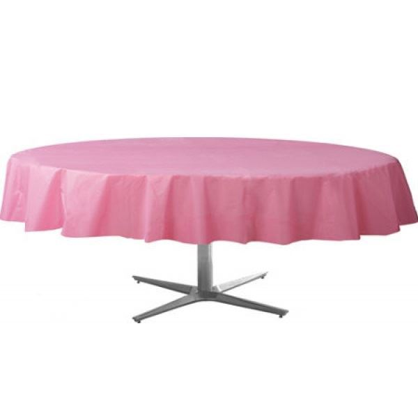 Imagen de Mantel redondo rosa claro- Plástico- 2.1m