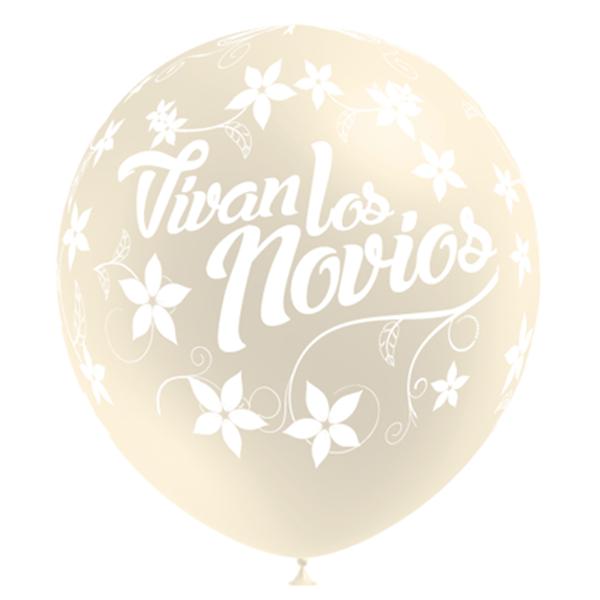 """Picture of Globos de látex """"Viva los novios"""" color marfil 32cm (50)"""