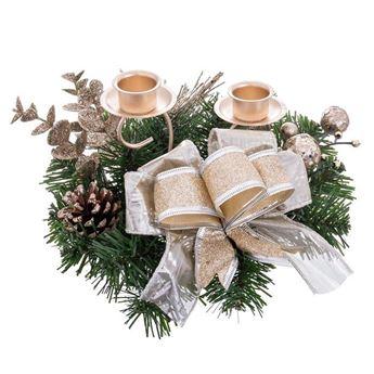 Imagen de Portavelas lazo navidad