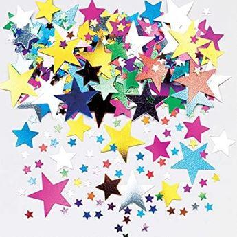 Imagen de Confeti estrellas multicolores tamaños surtidos (14g)